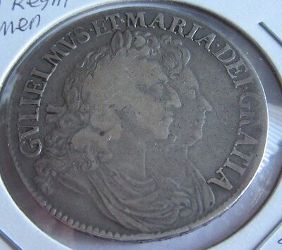 1691 Great Britain William and Mary Crown, Rare Silver Coin