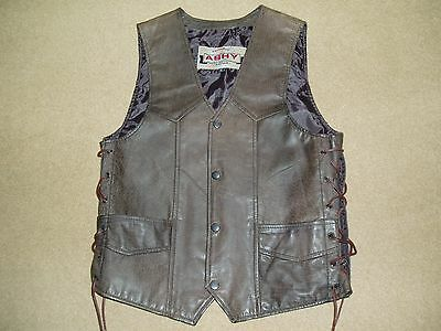 LEATHER WAISTCOAT  SMALL  34ins chest