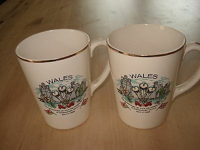1969 PAIR of SOUVENIR MUGS from INVESTITURE of PRINCE of WALES in CAERNARVON