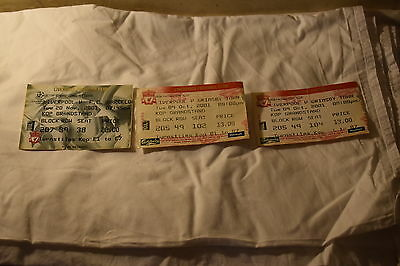 Liverpool FC Ticket Stubs Champions League & Worthington Cup 2001/2002