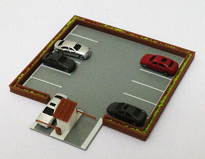 Outland Models Railroad Layout Outdoor Car Parking Lot with 5 Cars Z Gauge 1:220