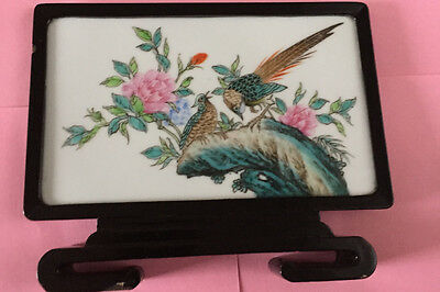 Small antique Japanese screen in lacquered frame. Peonies & exotic birds.