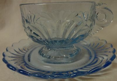 Caprice Moonlight Blue Cup and Saucer Set of 2 Cambridge Glass Company