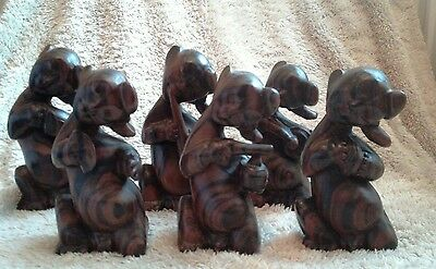 6 antique chinese / oriental.hardwood carved figures playing music instruments.
