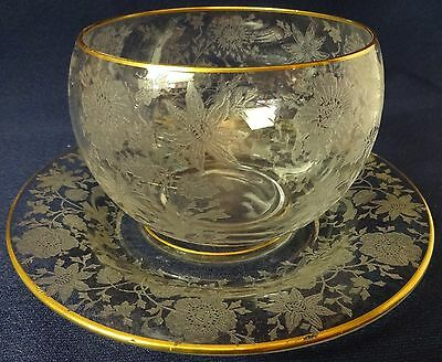 Wildflower Crystal Gold Trimmed Mayonnaise and Underliner Cambridge Glass