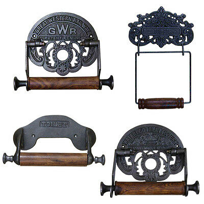 VINTAGE TOILET ROLL HOLDER Cast Iron Antique Rustic Shabby Chic Retro Kitchen