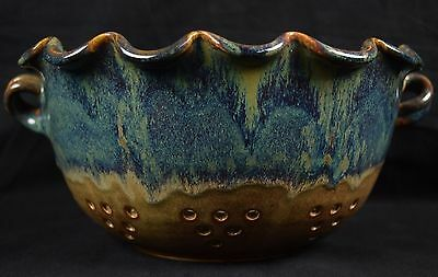 JR Ron Cooper Two Handled Strainer Southern Folk Art Georgia Art Pottery