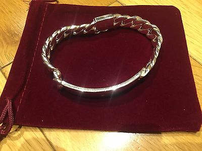 Genuine Sterling Silver Chunky Chain Link Bracelet With Cut Diamond