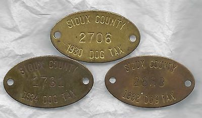 Sioux County Iowa dog license tax tags, 1930s