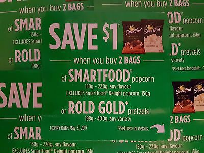 Coupons (10) Smartfood Popcorn/Rold Gold Pretzels (Canada Only)