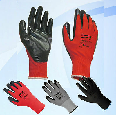 48 Pairs Red Black Nitrile Coated Work Gloves Builders Construction Gardening
