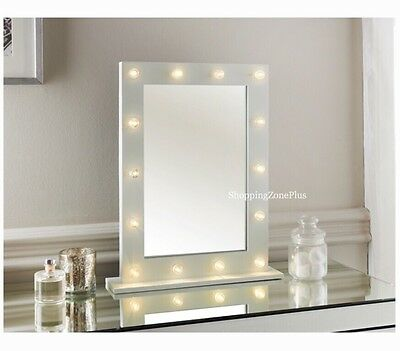 NEW 14 LED BULB MIRROR HOLLYWOOD WHITE GLOSS VANITY DRESSING TABLE MIRROR 50x40