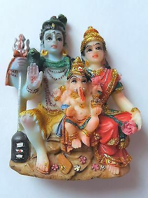 INDIAN HINDU GOD SHIV SHIVA AND FAMILY FRIDGE MAGNET / FREE STANDING (6 cm TALL)
