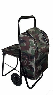 Camouflage FISHING Trolley with Folding Seat & Insulated bag