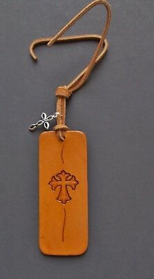 New Handmade Tan Leather Religious Cross Bookmark With Charm Hand Stamped