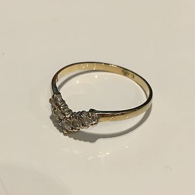 Ladies 9ct Gold 1/2 Wishbone Ring with CZ Size M