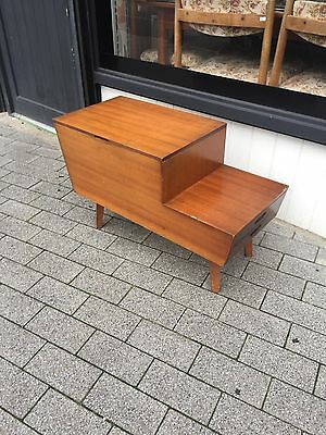 Vintage Wooden Sewing Craft Side Table Box  With Shelf And Vintage Sewing Items
