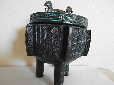 ORNATE CHINESE FOOTED REPRODUCTION METAL ASHTRAY or CANDY DISH WITH COVER