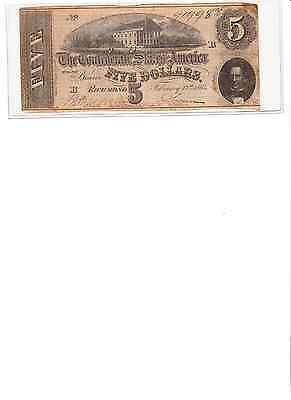 1864 $5 CONFEDERATE NOTE B real nice # 91998