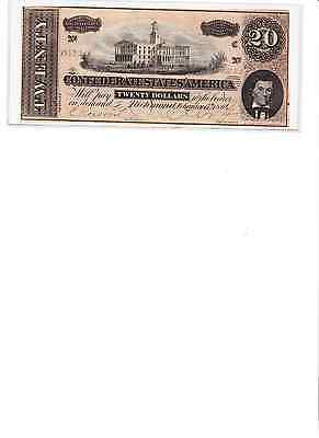 1864 $20 CONFEDERATE NOTE  C  real nice # 88579