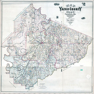 1874 Farm Line Map of Yazoo County Mississippi