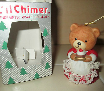 JASCO Porcelain Bisque Vintage Teddy Bear Mom Mama Christmas Bell in box