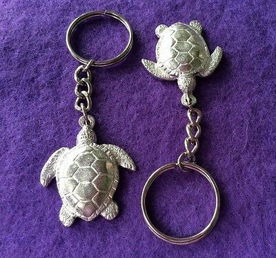 Two Pewter Turtle Keyrings - made Queensland Australia by Aradon - Animal Theme