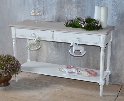 Console Blanc Table Shabby Chic Style Antique Mural Bois Patine Campagne Vintage