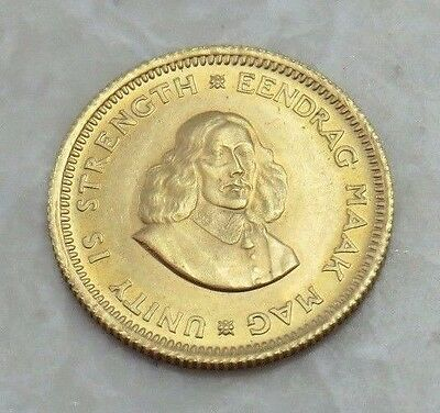 1967 South Africa 1 Rand Gold Coin Eendrag Maak Mag *Unity is Strength* 50 Years