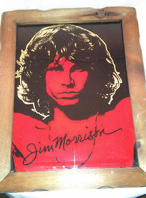Vintage The Doors Jim Morrison Carnival Mirror With Wooden Frame