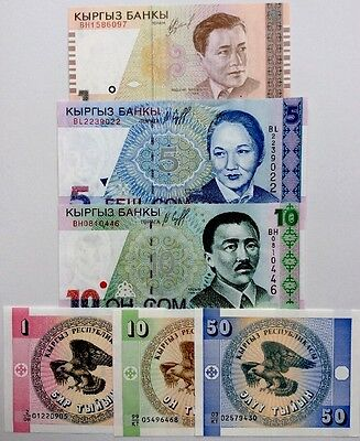 KYRGYZSTAN 1 10 50 Tyiyn 1 5 10 Som GREAT COLOURFUL UNCIRCULATED BANKNOTES SET