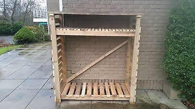 Large Wood Store Firewood Wooden Outdoor Garden Log Storage Unit With Shelf