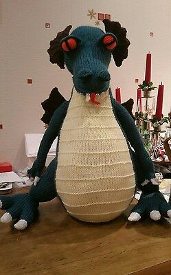 Hand Knitted 18 Inch Woolen Dragon - Turquoise & Tan