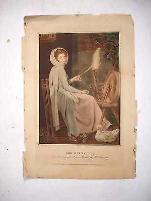 """ANTIQUE engraving """" THE SPINSTER """" F Bartolozzi - Romney"""