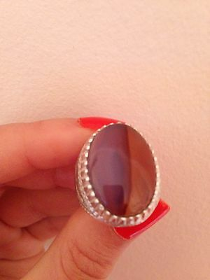 Yemeni Mens Agate Ring Two Colours Purple And Light Brown Old Silver Handmade
