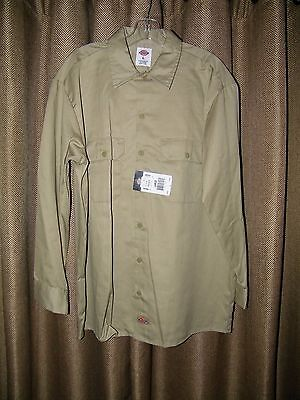 Men's Dickies Tan Khaki Long Sleeve Work Shirt Size L NWT