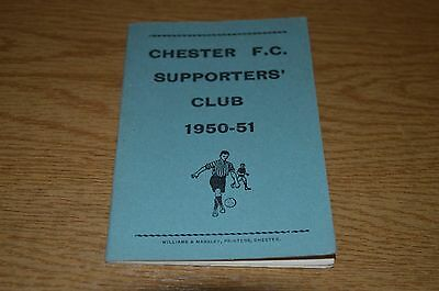 Chester Fc Supporters Club Booklet / Fixture Card 1950/51