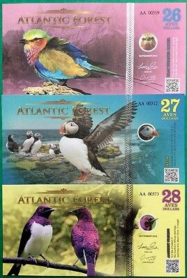 NEW ATLANTIC FOREST 2016 26 27 28 Aves GREAT NEW UNCIRCULATED FANTASY NOTES
