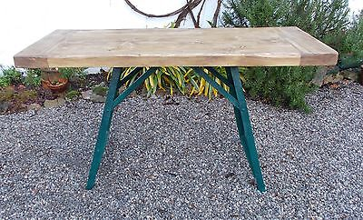 vintage French workbench, side table., work bench, lamp table,