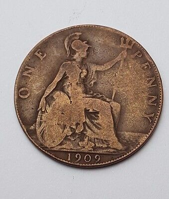 1909 - Copper - One Penny - Great Britain - King Edward VII - English UK Coin