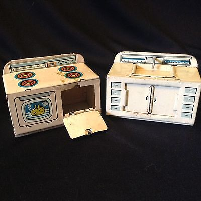 Vintage RARE Linemar Matching Tin Stove and Sink Japan