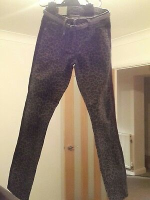 next leopard print trousers / jeans girls age 9