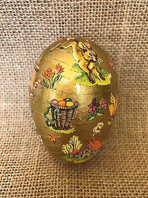 Vintage Western Germany Gold Paper Mache Easter Egg Candy Container Fillable