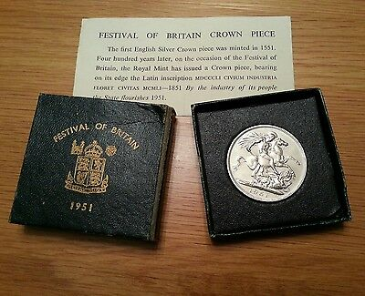 """1951 Uk George Vi """"festival Of Britain"""" Crown Coin With Box And Certificate"""