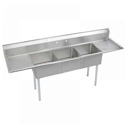 "Commercial Stainless Steel 3 Compartment Sink 18""x18""x12"" Bowl R/L DRAINBOARD"