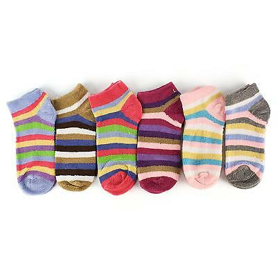 Soft Towel Terry Cloth Girls Ladies 6 Pairs Pk Striped Ankle Casual Sport Socks