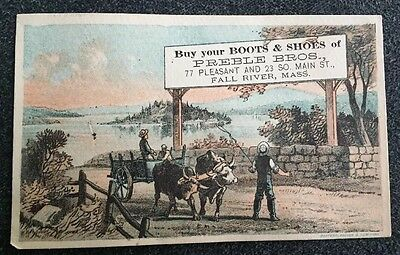 Antique Vintage Victorian Trade Card Advertisement Preble Bros. Boots Shoes Mass