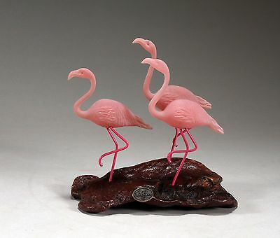3 FLAMINGOS Sculpture Direct from JOHN PERRY New 7in tall Figurine Statue Decor