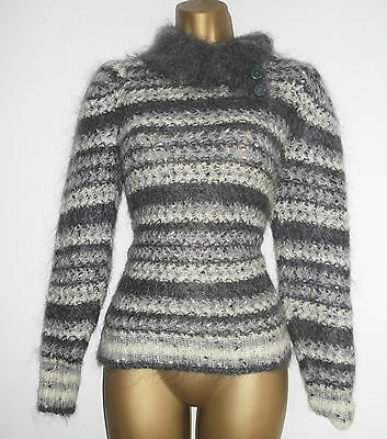 Vintage Grey Mohair Wool Funnel Neck Jumper Sweater Grey White Striped sz 12 10