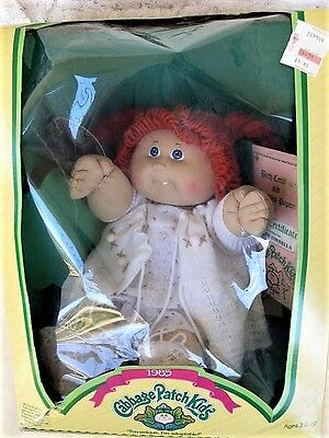 Cabbage Patch Kids Doll RED HAIR in Braids 1-Tooth Coleco 1985 In Box